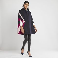 This gorgeous colorblock cape coat, made of supremely light, warm, and water-resistant loden wool, is perfect for dressed-up occasions: the sunset-hued sunburst