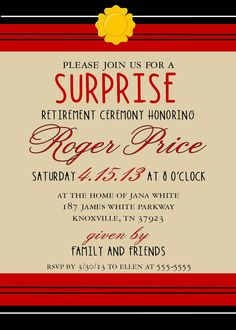 Firefighter Retirement Party Invitation DIY by SimplySprinkled, $13.00