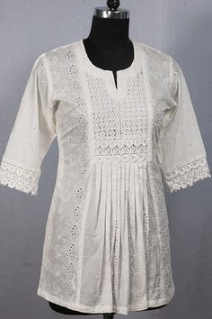 Beautiful White Chikan Kurta with Exquisite Lace Yoke and Pleated Design.