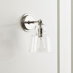 Lander Polished Nickel Sconce - love this light fixture from Crate & Barrel