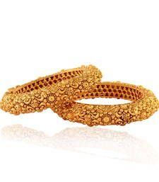 """Gold plated antique bangles with a detailed intricate design,superb finish.Look alike of real """"gold kangan"""".One of the best sellers already.Just arrived selling fast too!"""