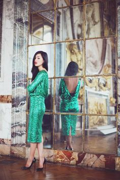 Nicole Warne Australian Fashionista in emerald green sequin dress