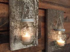Mason Jar Sconces Sconces Rustic Candle Holders Reclaimed Wood Handmade