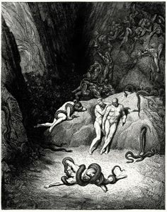 """…The other two Look'd on, exclaiming, """"Ah, how dost thou change, Agnello!"""" Gustave Doré, from Dante's Inferno, by Dante Alighieri, New York, circa 1866. (Source: archive.org)"""