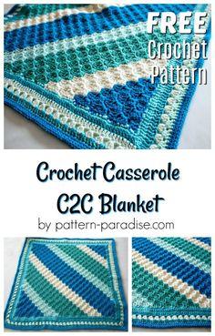Free crochet pattern for reversible c2c blanket by pattern-paradise.com #crochet #patternparadisecrochet #blanket