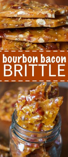 This bourbon bacon brittle recipe is made with candied bacon, toasted pecans and bourbon. It's the crunchiest, most delicious brittle you will ever have. Its the perfect christmas dessert. Bacon Brittle Recipe, Brittle Recipes, Candied Bacon Recipe, Bacon Pecan Pie Recipe, Yummy Snacks, Yummy Food, Bacon Recipes Snacks, Desserts With Bacon, Nut Recipes