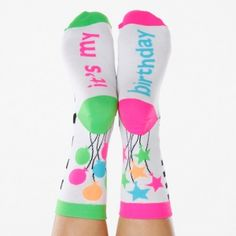 It's My Party Smelly Anklet #Socks Get ready to celebrate your marvelous sense of style with this groovy sock set fit for the most fab fashion bash.  Scent lasts at least 10 washes!  #funkysocks