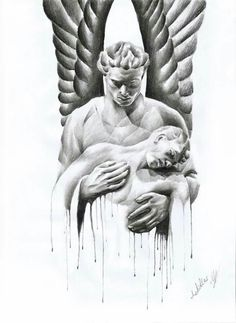 Dark angel pencil drawing