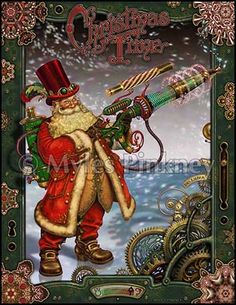 Steampunk Santa? Christmas cards from Myles Pinkney -- Personally I think they could have added more details, but and A for a cool idea. #steampunk #santa #christmas #card