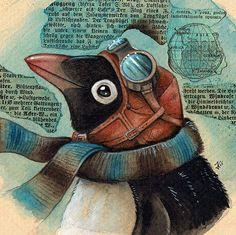 Steampunk Penguin Pilot by kiriOkami.deviantart.com on @DeviantArt