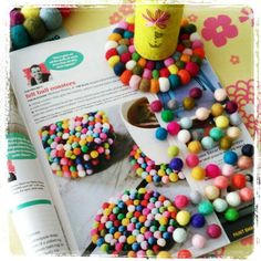Yes!  These Itsy-bitsy 1cm felt balls made it to the HGTV magazine, April's issue! Super easy DIY colorful coasters