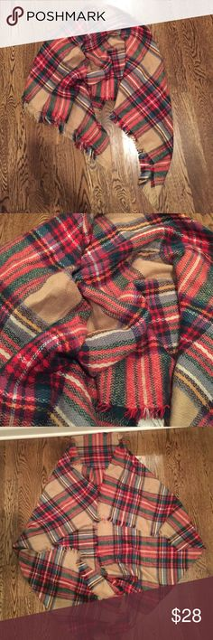 Large Plaid Blanket Scarf Wrap Shawl Like new - worn once but just not my style Accessories Scarves & Wraps