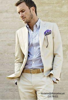Khaki on khaki white suit - amazing for a white wedding