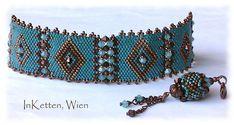 So! Und hier mit Rand! Orient Peyote Technik; Armband, Bracelet, beaded Bead, Swarovski Crystallized(TM)