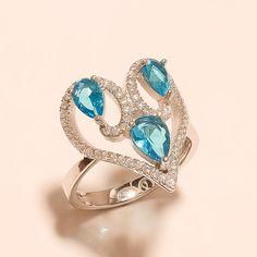Swiss Blue Topaz Gemstone 925 Sterling Silver Love Ring Wedding Women Jewelry AA #Handmade #Cocktail #WeddingEngagement