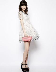 Enlarge Nishe Allover Polka Dot Collar Prom Dress