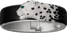 Panthère de Cartier bracelet White gold, black lacquer, emeralds, onyx, diamonds