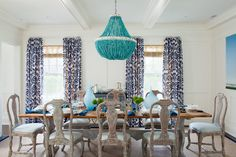 layered blues in dining room