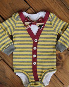Baby boy striped bodysuit cardigan set & FSU bow tie - Garnet and Gold - for your little Noles fan! 3-24 months by Cestwest on Etsy