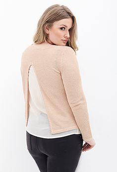 Layered Chiffon Metallic Sweater   FOREVER21 PLUS - 2000119905