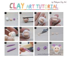 Free Clay Tutorial - learn how to make a very cute sheep charm with easy step by step photo to guide you through!