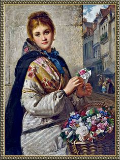 ⊰ Posing with Posies ⊱ paintings & illustrations of women & children with flowers - Haynes King - The Flower Seller 1876 King Painting, Flower Cart, Victorian Gardens, Painted Cottage, Language Of Flowers, Flower Fashion, Female Art, Folk, Fine Art