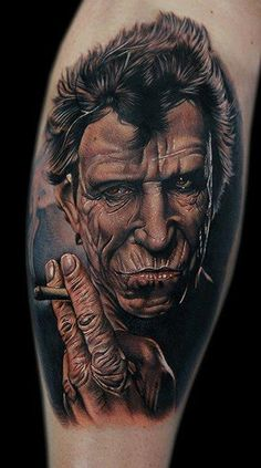 Keith Richards Tattoo by Cecil Porter Sweet Tattoos, Boy Tattoos, Body Art Tattoos, I Tattoo, Small Tattoos, Portrait Tattoos, Ink Master, Tattoo Feminina, Keith Richards