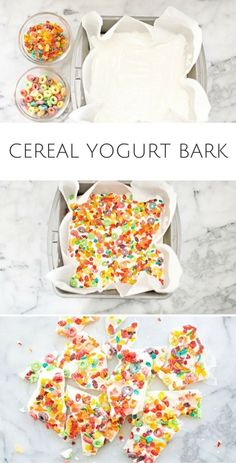 Healthy Snacks For Kids Easy Kid Snack: Cereal Yogurt Bark. Just two ingredients needed to make this yummy and healthy snack for kids. Use your favorite cereal to make your own. Lunch Snacks, Yummy Snacks, Yummy Food, Fun Food, Easy Snacks For Kids, Kids Healthy Snacks, Easy Cooking For Kids, Breakfast Ideas For Toddlers, Healthy Kids Breakfast