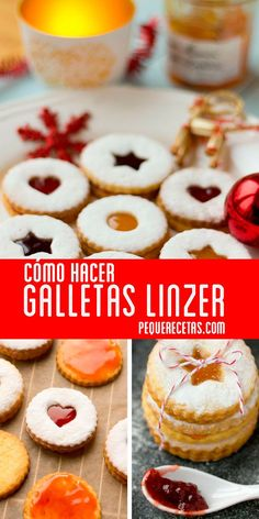 Galletas Linzer rellenas de mermelada Linzer biscuits stuffed with jam, For some time we wanted to explain this Christmas recipe, which for its simplicity is perfect for cooking with children on these afternoons … Mexican Cookies, Cookie Recipes, Dessert Recipes, Vanilla Recipes, Cupcake Cookies, Christmas Desserts, Cakes And More, Shortbread, Cookie Decorating