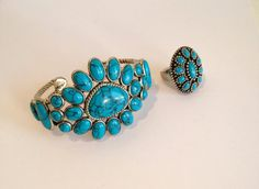 Vintage Sterling Silver Turquoise Cuff Estate by WOWTHATSBEAUTIFUL