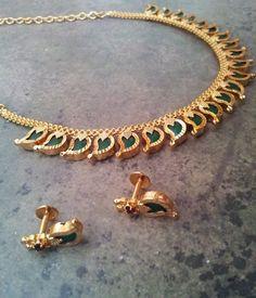 Shop Kerala Palakka Mala by Kumkum's Jewellery online. Largest collection of Latest Necklaces online. Jewelry Design Earrings, Gold Earrings Designs, Gold Jewellery Design, Necklace Designs, Pendant Jewelry, Gold Designs, Silver Jewellery, Beaded Jewelry, Bridal Jewelry Sets