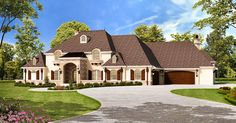<ul><li>Designed for an athletic owner, this 5 4 bedroom luxury home plan comes with a finished lower level featuring a 17'x24' sport court plus an adjacent exercise room. After a game, hit the bar or take the elevator up to the main floor or upper floor. Or if you didn't work up a sweat, flop in the media room and catch a movie.</li><li>The large master suite is on the main floor and has a vaulted ceiling with exposed beams and a fireplace shared with the sitting room. That room opens to…