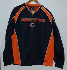 New With Tag NFL Chicago Bears Pullover Windbreaker Jacket Size MED (FREE SHIP ) #ChicagoBears  $19.99 Free Shipping