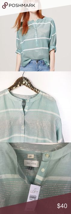 NWT LOFT | Softened Mint & rose gold Blouse Brand new! Super pretty! Has gorgeous colors that are perfect for spring and summer! Very loose and airy! Has buttons to adjust to how you like. The perfect everyday blouse to dress up or down! 💕B9-430 Measurements: L-26in. W-22in. LOFT Tops Blouses