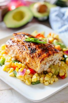 This Grilled Mahi with Corn and Avocado Salsa hits al the marks! Fast, Fresh and Healthy. The corn salad can be saved for lunch the next day and is great just on it's own! # Easy Recipes lunch Easy Grilled Mahi with Avocado and Corn Salsa Chicken Salad Recipes, Healthy Salad Recipes, Salmon Recipes, Seafood Recipes, Dinner Recipes, Healthy Food, Grilled Fish Recipes, Easy Fish Recipes, Chickpea Recipes