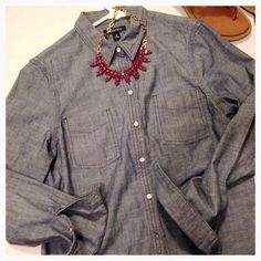 Gorgeous Denim Chambray Shirt Denim Chambray. Like new. No missing buttons or other damage. Tag says 10. Is a more fitted 10. Very well made!!!  Offers welcome. Great for spring time wear!  Not heavy. Lands' End Tops Button Down Shirts