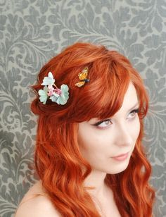 flower hair clips butterfly bobby pins garden by gardensofwhimsy, $25.00