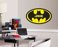 Personalized Batman Monogram for Boys Room - Vinyl Wall Decal (Two Sizes Available)