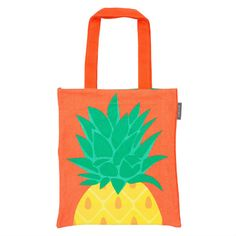 Pineapple Tote Bag: This 100% cotton pineapple tote is perfect for summer. Featuring a bold pineapple set against an orange background, even on rainy days you'll still feel the summer vibes. Transport your pineapples, snacks or bits and bobs around in style.  On the other side are the words 'Aloha Sunshine'