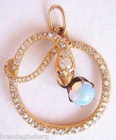 Antique Victorian 18k Gold Diamond & Opal Snake Pendant