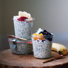 Blueberry, kumquats, and coconut overnight oats for me, and banana, almond butter and strawberry jam…