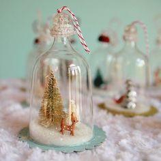 Vintage inspired bell jar ornaments made from plastic wine glasses. PLASTIC WINE GLASSES! Lovelovelovelove.