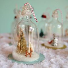 Vintage inspired bell jar ornaments made from plastic wine glasses. PLASTIC WINE GLASSES! Lovelovelovelove.