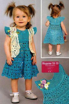 Crochet toddler girl dress. Russian website has a chart
