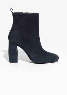 5fed34993884 Other Stories image 1 of Sculpture Heel Suede Boots in Dark Blue Je T
