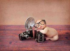 Newborn w/ old cameras and frames