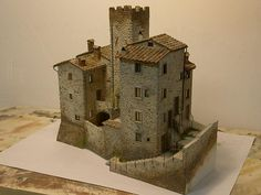 Excellent execution of colour and design of form Fantasy Castle, Fantasy House, Medieval Houses, Medieval Castle, Model Castle, Wargaming Terrain, Unusual Homes, Miniature Houses, Model Building
