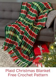 Plaid Christmas Blanket Free Crochet Pattern in Red Heart Super Saver yarn