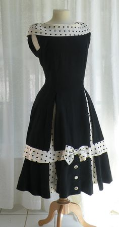 Cute Vintage 1950's Black Dress with White and Black Polka Dot Trim at the Collar and on the Skirt