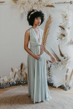 Bridesmaids Dress Eucalyptus — We Are Flowergirls Ibiza Wedding, Summer Wedding, Bridesmaid Outfit, Bridesmaids, Drapery Wedding, Convertible Dress, Jumpsuit Dress, Slow Fashion, Wedding Season